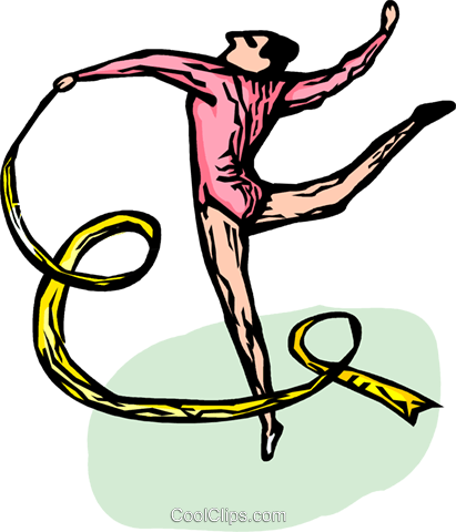Gymnast performing the floor routine Royalty Free Vector Clip Art illustration vc064268