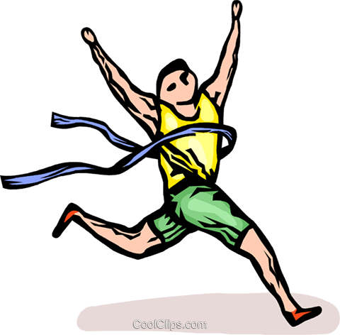 Runner winning a race Royalty Free Vector Clip Art illustration vc064269