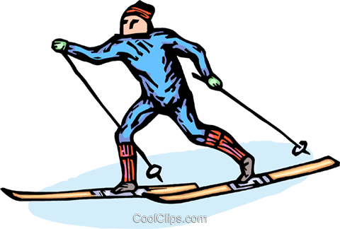 cross-country skier Royalty Free Vector Clip Art illustration vc064280