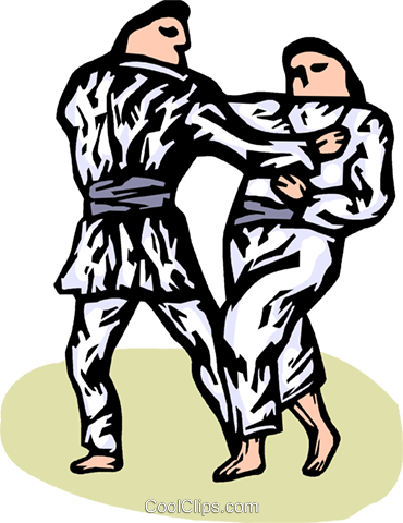 Martial artists sparring Royalty Free Vector Clip Art illustration vc064281