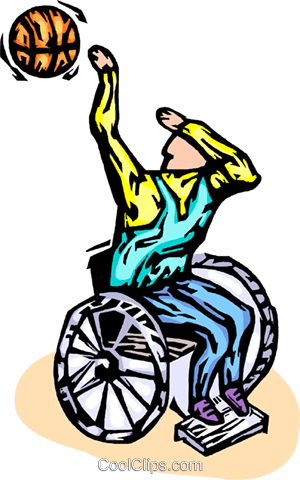 wheelchair basketball player Royalty Free Vector Clip Art illustration vc064284
