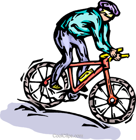 Cyclist riding hard Royalty Free Vector Clip Art illustration vc064293