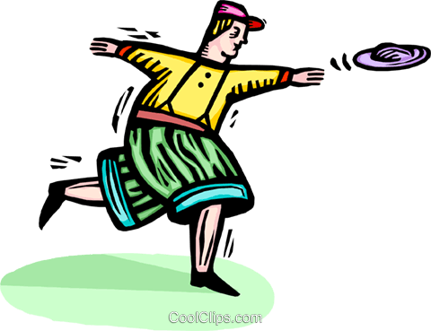 boy throwing a flying disc Royalty Free Vector Clip Art illustration vc064300