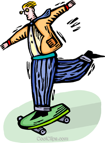 person on a skateboard Royalty Free Vector Clip Art illustration vc064302