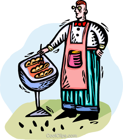 man barbecuing Royalty Free Vector Clip Art illustration vc064303