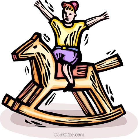 child on a rocking horse Royalty Free Vector Clip Art illustration vc064307