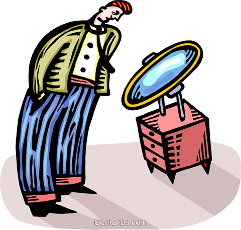 man looking in a mirror Royalty Free Vector Clip Art illustration vc064309