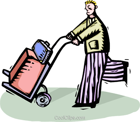 man with luggage on a dolly Royalty Free Vector Clip Art illustration vc064311