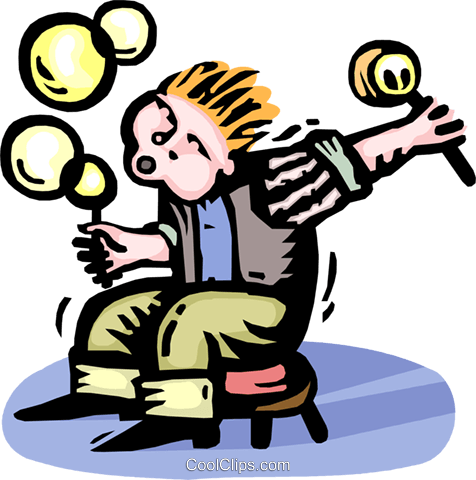 child blowing bubbles Royalty Free Vector Clip Art illustration vc064317
