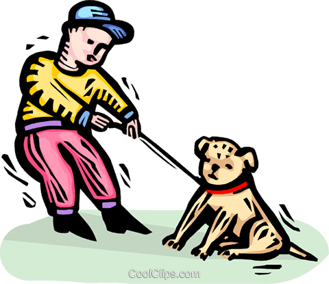 Boy and his dog Royalty Free Vector Clip Art illustration vc064326