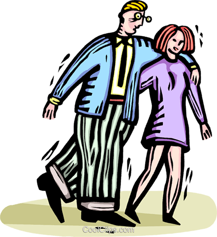 couple walking arm in arm Royalty Free Vector Clip Art illustration vc064327