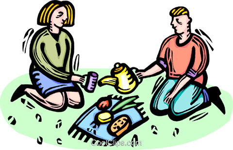 couple on a picnic Royalty Free Vector Clip Art illustration vc064330