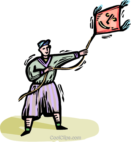 boy flying a kite Royalty Free Vector Clip Art illustration vc064332