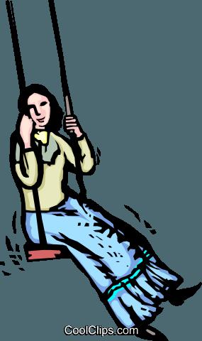 Frau auf einer Schaukel Vektor Clipart Bild -vc064337 ...