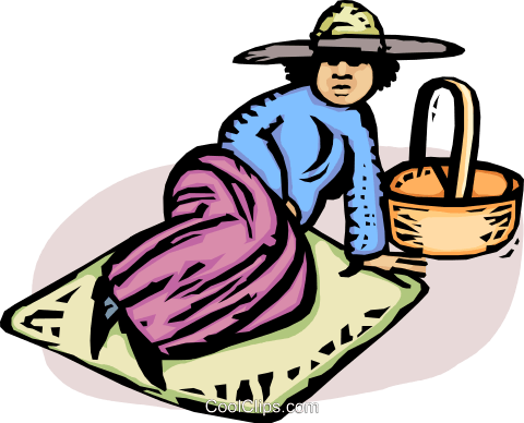 person lying on a blanket after a picnic Royalty Free Vector Clip Art illustration vc064338