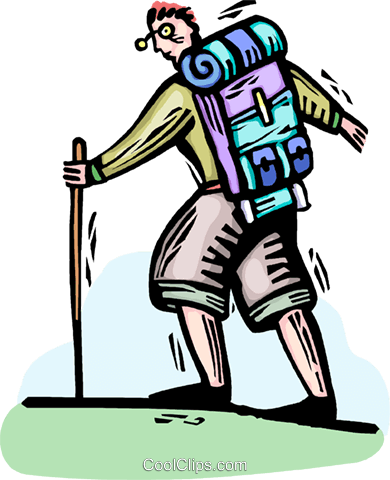 Hiker with backpack Royalty Free Vector Clip Art illustration vc064347