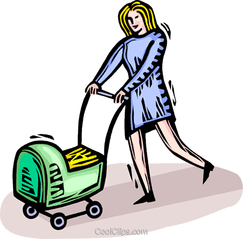 woman pushing a baby carriage Royalty Free Vector Clip Art illustration vc064351