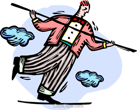 Businessman walking the tightrope Royalty Free Vector Clip Art illustration vc064355