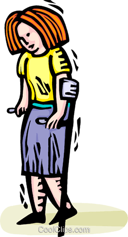 woman on crutches Royalty Free Vector Clip Art illustration vc064357