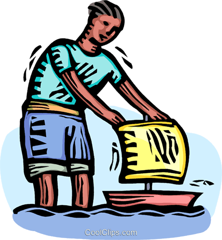 boy playing with a boat Royalty Free Vector Clip Art illustration vc064358