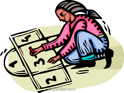 girl playing hopscotch Royalty Free Vector Clip Art illustration vc064359
