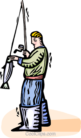 Fisherman taking fish off his line Royalty Free Vector Clip Art illustration vc064360