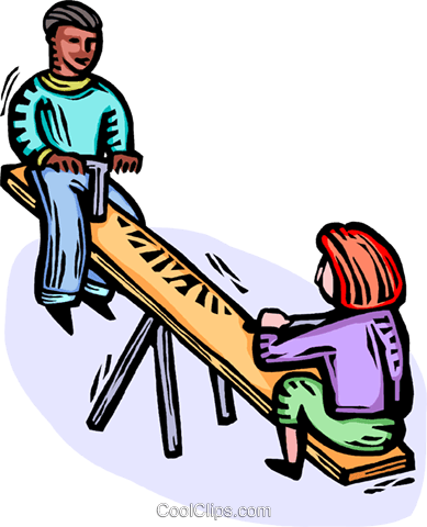 kids on a teeter-totter Royalty Free Vector Clip Art illustration vc064366