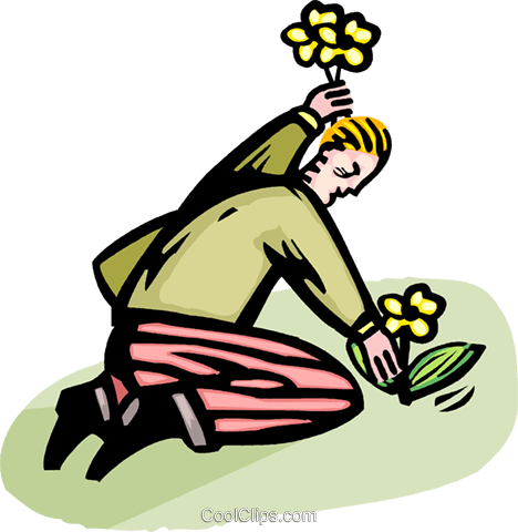 man planting flowers Royalty Free Vector Clip Art illustration vc064368