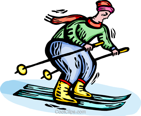 Person downhill skiing Royalty Free Vector Clip Art illustration vc064371