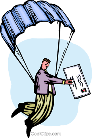 Man delivering the mail via a parachute Royalty Free Vector Clip Art illustration vc064375