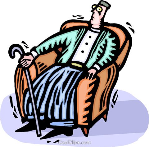 man with a cane in a chair Royalty Free Vector Clip Art illustration vc064380