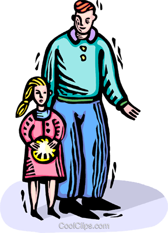 father and daughter Royalty Free Vector Clip Art illustration vc064384