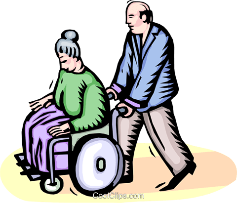 elderly woman in a wheelchair Royalty Free Vector Clip Art illustration vc064396