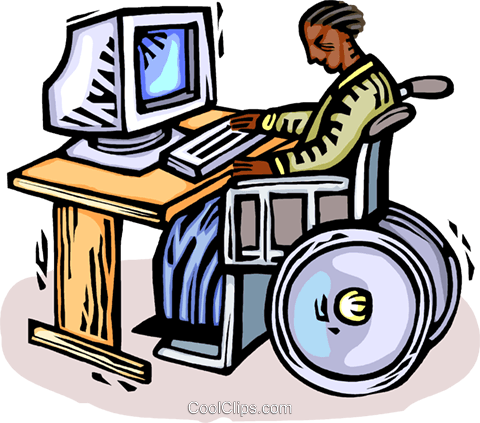 working at the computer Royalty Free Vector Clip Art illustration vc064402