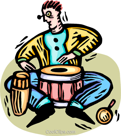 bongo players Royalty Free Vector Clip Art illustration vc064407