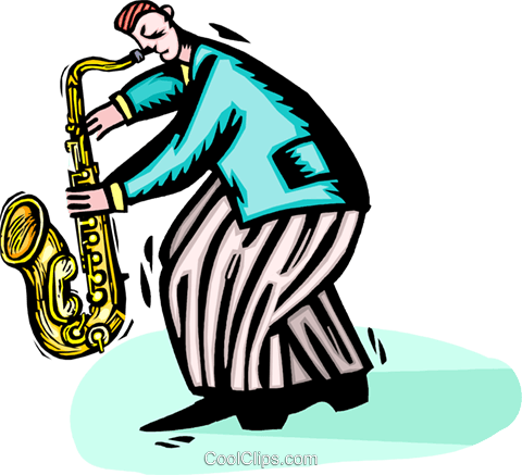 saxophone player Royalty Free Vector Clip Art illustration vc064429