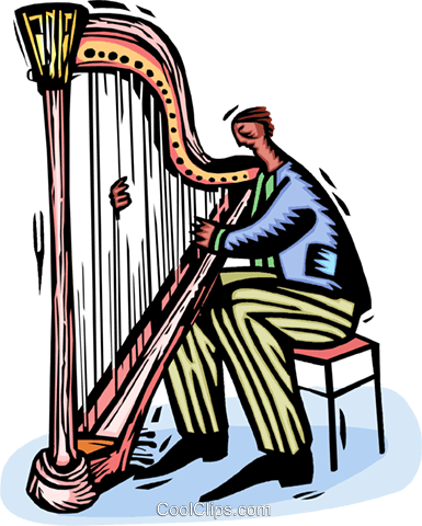harpist Royalty Free Vector Clip Art illustration vc064433