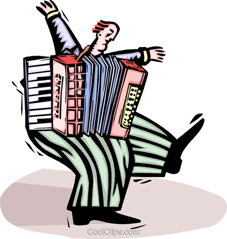 accordion player Royalty Free Vector Clip Art illustration vc064434