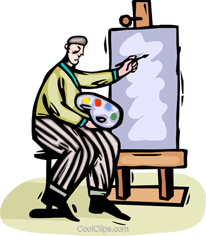 Artist painting on canvass Royalty Free Vector Clip Art illustration vc064437