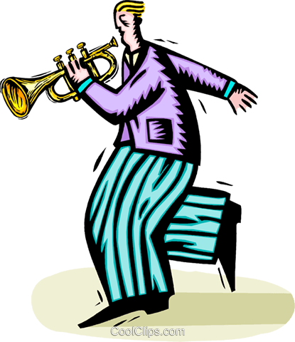 trumpet player Royalty Free Vector Clip Art illustration vc064440