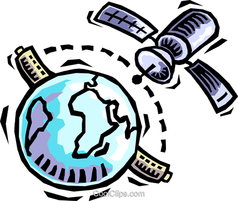 satellite communications Royalty Free Vector Clip Art illustration vc064463