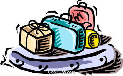 luggage on a carousel Royalty Free Vector Clip Art illustration vc064469