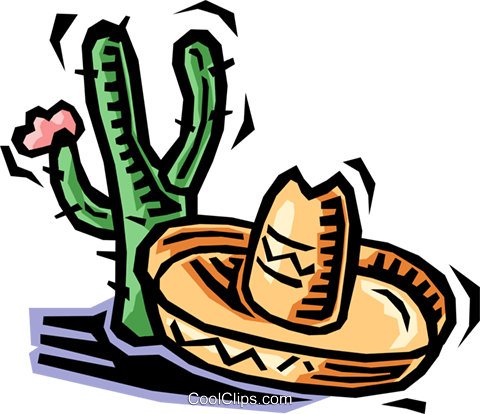 cactus and a sombrero Royalty Free Vector Clip Art illustration vc064483