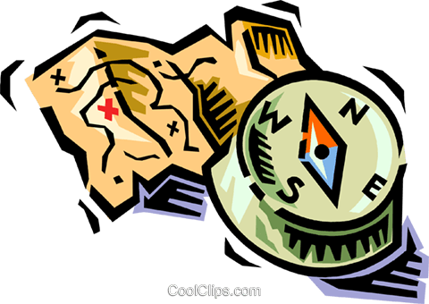 map and compass Royalty Free Vector Clip Art illustration vc064497
