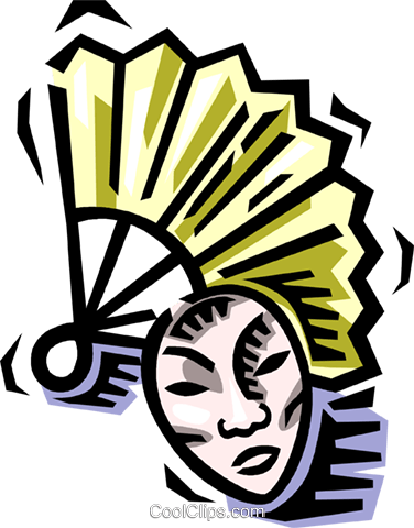 hand fan Royalty Free Vector Clip Art illustration vc064544