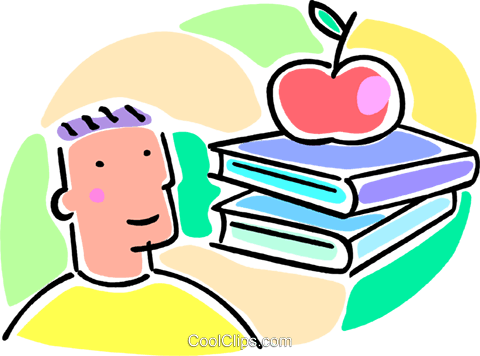 boy, school books and an apple Royalty Free Vector Clip Art illustration vc064546