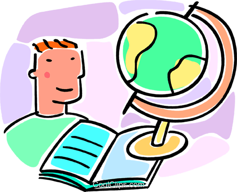 boy, globe and school book Royalty Free Vector Clip Art illustration vc064547