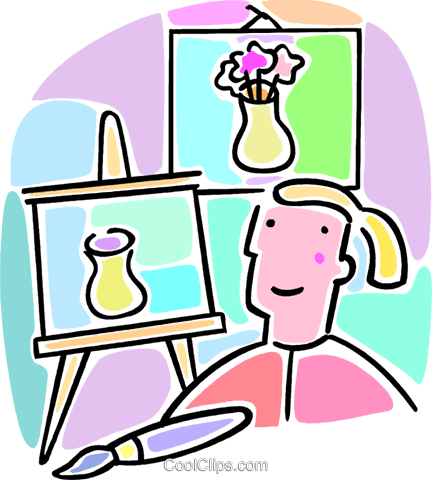 student in art class Royalty Free Vector Clip Art illustration vc064551