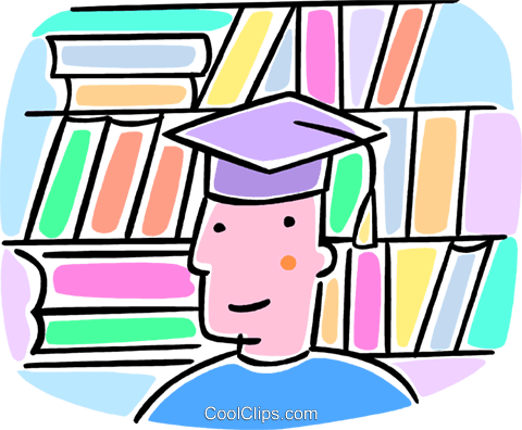 student with a graduation cap Royalty Free Vector Clip Art illustration vc064552