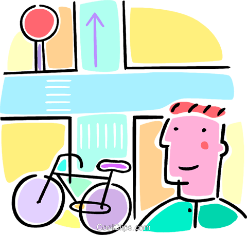 boy with a bicycle Royalty Free Vector Clip Art illustration vc064553